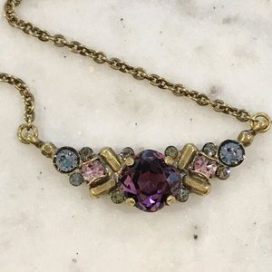 Sorrelli Ant.Gold Purple/Pink Crystal Necklace,NWT